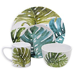 Certified International Mixed Greens Palm Leaves Dinnerware Collection