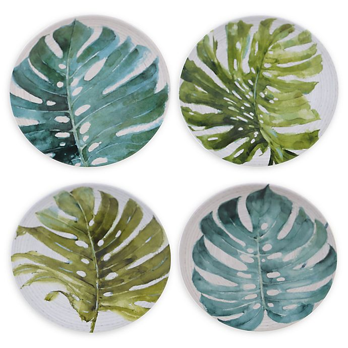 Alternate image 1 for Certified International Mixed Greens Palm Leaves Dessert Plates (Set of 4)