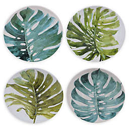 Certified International Mixed Greens Palm Leaves Dessert Plates (Set of 4)