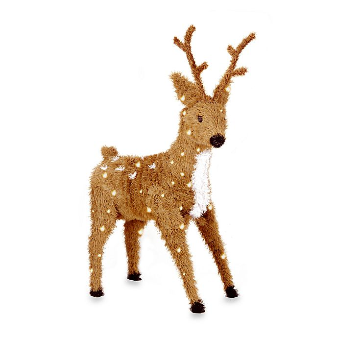 Alternate image 1 for National Tree Company Creative Images 36-Inch Pre-Lit Brown Spotted Standing Reindeer w/Clear Lights
