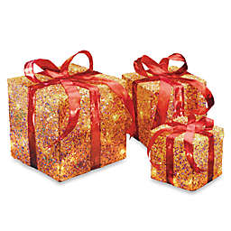 "National Tree 6"", 8"" & 10"" Assorted Gold Sisal Pre-Lit Gift Boxes"