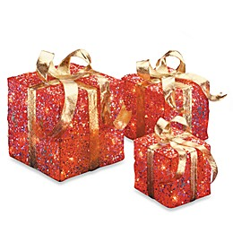 National Tree Company Sisal Pre-Lit Gift Boxes in Red/Gold (Set of 3)