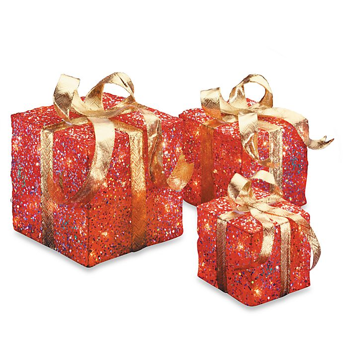 Alternate image 1 for National Tree Company Sisal Pre-Lit Gift Boxes in Red/Gold (Set of 3)