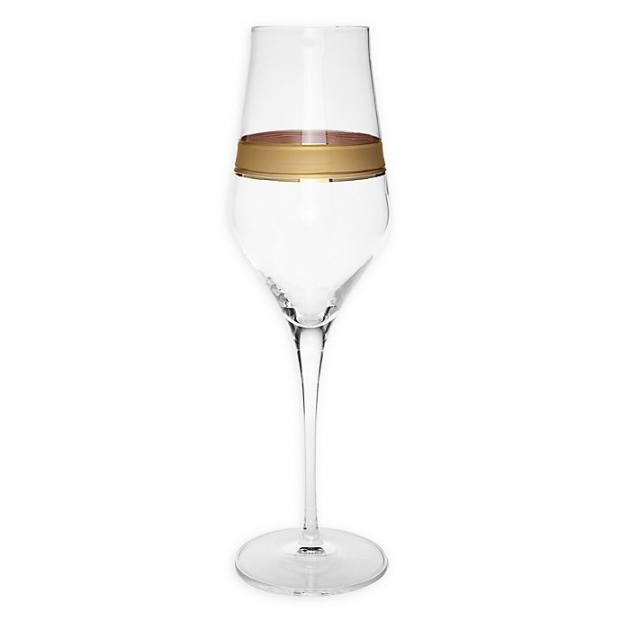 Alternate image 1 for Classic Touch Vivid Collection Champagne Flutes in Gold (Set of 6)