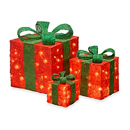 National Tree Company Sisal Pre-Lit Gift Boxes (Set of 3)