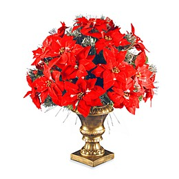National Tree Company 26-Inch Fiber Optic Ice Crestwood Spruce Poinsettia