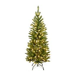 National Tree Company 4.5-foot Kingswood Fir Hinged Pencil Tree Pre-Lit with 150 Clear Lights