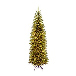 National Tree 7-Foot 6-Inch Kingswood Fir Hinged Pre-Lit Pencil Christmas Tree w/Clear Lights