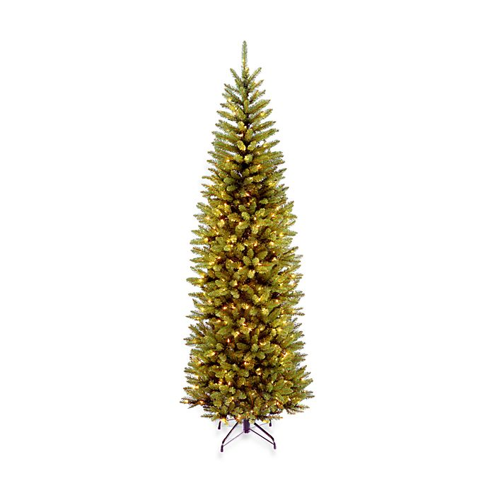 Alternate image 1 for National Tree 7-Foot 6-Inch Kingswood Fir Hinged Pre-Lit Pencil Christmas Tree w/Clear Lights