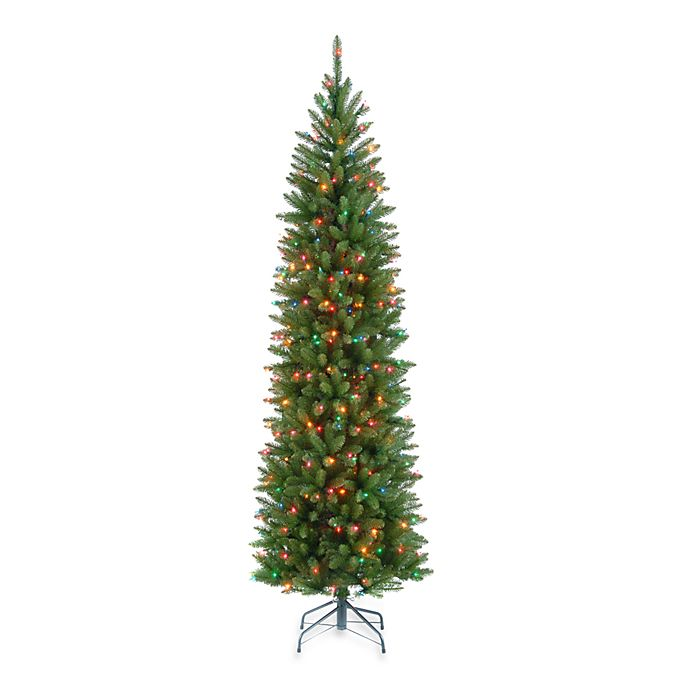 Alternate image 1 for National Tree 6.5-Foot Kingswood Fir Hinged Pre-Lit Pencil Christmas Tree with Multicolored Lights