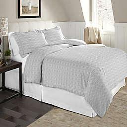 Pointehaven Winter Wonderland 2-Piece Twin/Twin XL Flannel Duvet Cover Set in White/Grey
