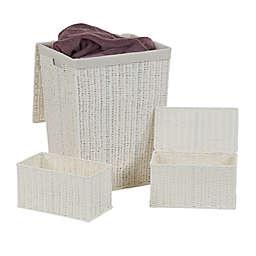 Household Essentials Paper Rope Wicker Hamper Storage Set in White (Set of 3)