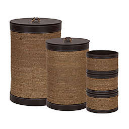 Household Essentials® Seagrass and Faux Leather 5-Pc. Hamper and Basket Set