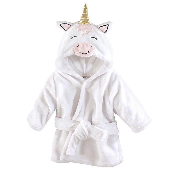 Alternate image 1 for Unicorn Size 0-9M Hooded Bathrobe in White