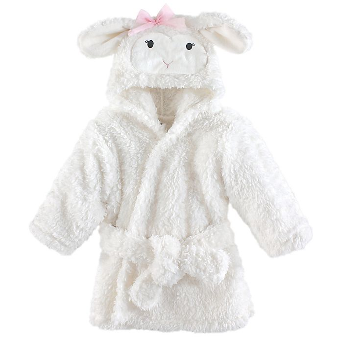 Alternate image 1 for Lamb Size 0-9M Hooded Bathrobe in White