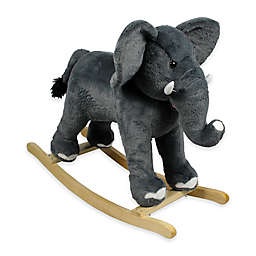 PonyLand Plush Rocking Elephant in Grey