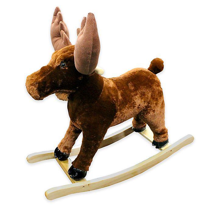 Alternate image 1 for PonyLand Plush Rocking Moose in Brown