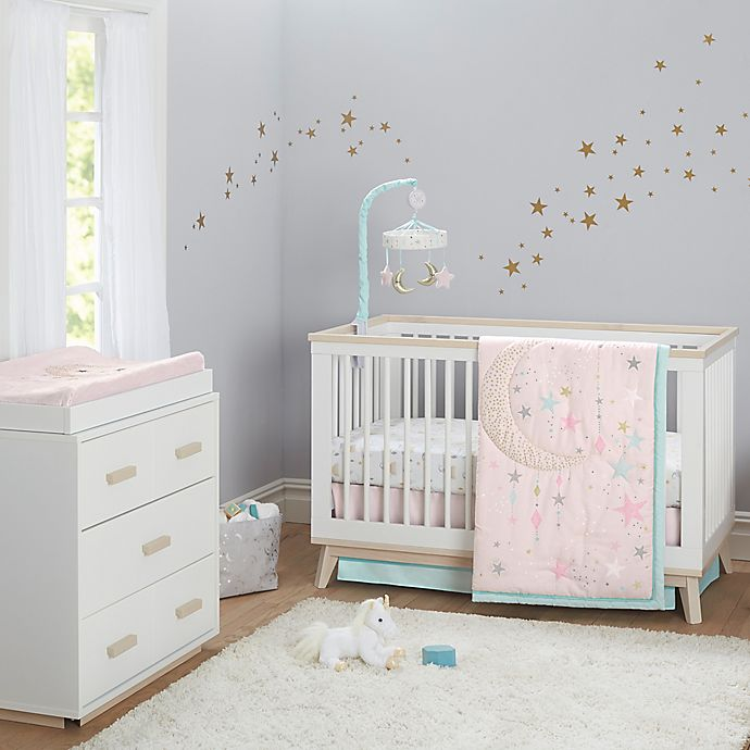 Alternate image 1 for Just Born® One World™ Love & Sugar 3-Piece Crib Bedding Set in White/Pink