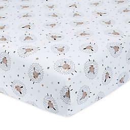 Just Born® One World™ Counting Sheep Fitted Crib Sheet in Grey/White
