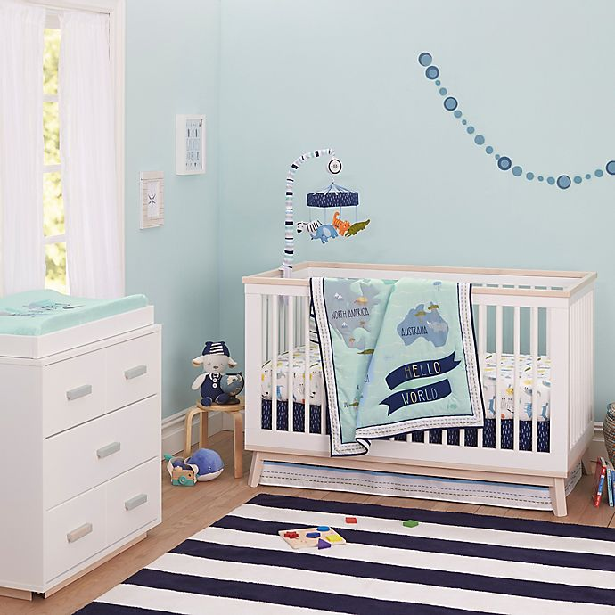 Alternate image 1 for Just Born® One World™ Collection Dear World Crib Bedding Collection in Blue