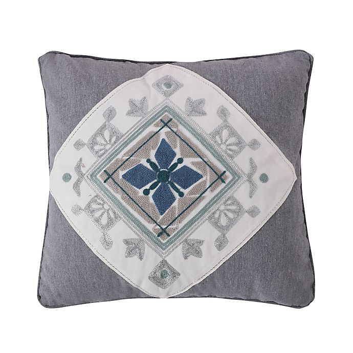 Alternate image 1 for Levtex Home Tania Crewel Medallion Square Throw Pillow in Grey