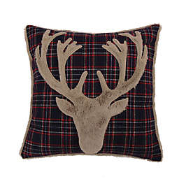 Levtex Home Plaid Deer 18-Inch Square Throw Pillow in Navy