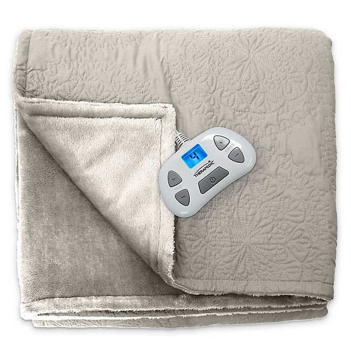 Alternate image 1 for Therapedic® Quilted Medallion Warming Full Blanket in Taupe