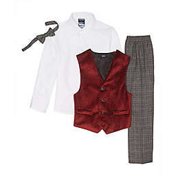 Nautica® 4-Piece Velvet Vest Set in Red