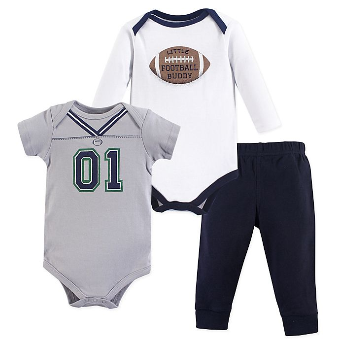 Little Treasure 3-Piece Football Bodysuits and Pant Set in Blue White e0093f3e3