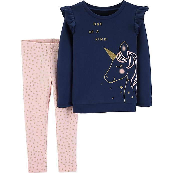 Alternate image 1 for carter's® 2-Piece Unicorn Top and Pant Set in Navy