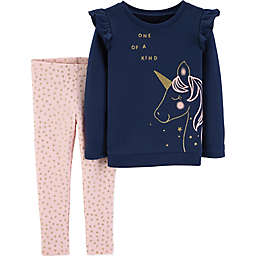 carter's® 2-Piece Unicorn Top and Pant Set in Navy