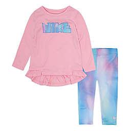 Nike® Peplum Tunic Top and Legging Set in Pink