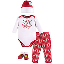 Hudson Baby® Size 0-6M 4-Piece My 1st Christmas Bodysuit, Pant, Hat, and Bootie Set