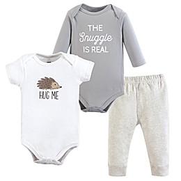 Hudson Baby® 3-Piece Hedgehog Bodysuit and Pant Set in Brown