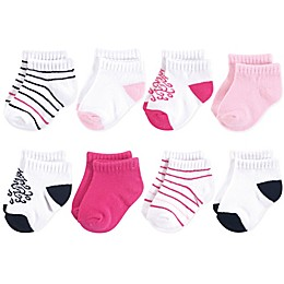 Yoga Sprout 6-Pack No-Show Damask Ankle Socks in White