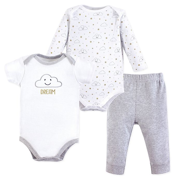 Alternate image 1 for Hudson Baby® 3-Piece Clouds Bodysuit and Pant Set in White