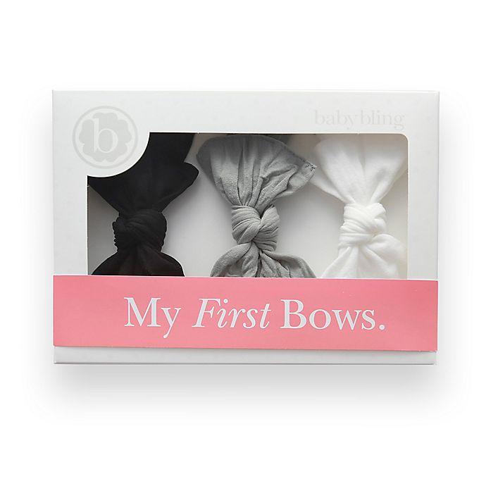 Alternate image 1 for Baby Bling 3-Pack Bow Headbands in Black/Grey/White