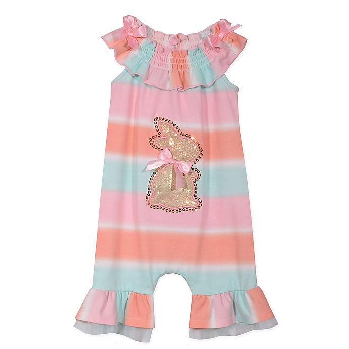 Alternate image 1 for Bonnie Baby Bunny Romper in Peach