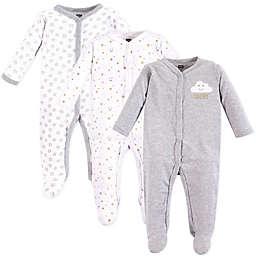 Hudson Baby® 3-Piece Clouds Footies in Grey
