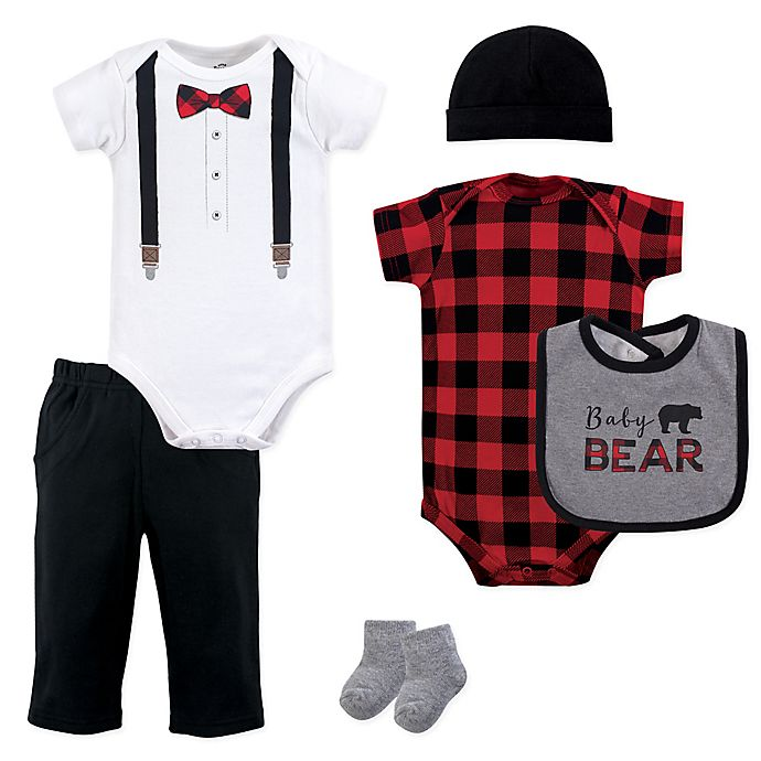 Alternate image 1 for Little Treasures 6-Piece Baby Bear Layette Set