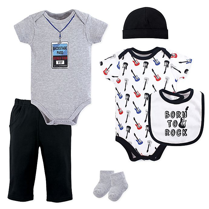 Alternate image 1 for Little Treasures 6-Piece Born to Rock Layette Set