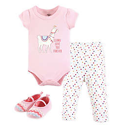 Little Treasures 3-Piece Llama Love Bodysuit, Pant and Shoe Set