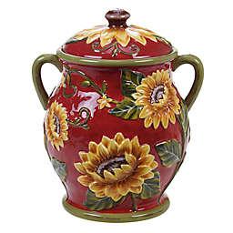Certified International Sunset Sunflower Embossed Biscuit Jar