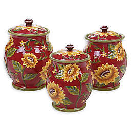 Certified International Sunset Sunflower 3-Piece Canister Set