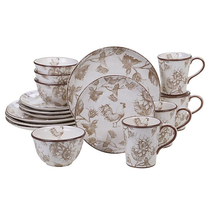 65ddeffa035 Certified International Toile Rooster 16-Piece Dinnerware Set | Bed ...