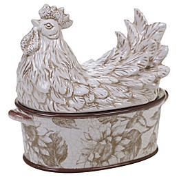 Certified International Toile Rooster 3D Covered Bowl with Handles