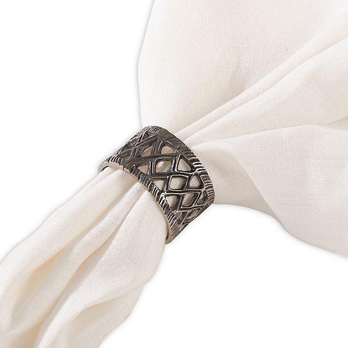 Alternate image 1 for Saro Lifestyle Jali Napkin Rings (Set of 4)
