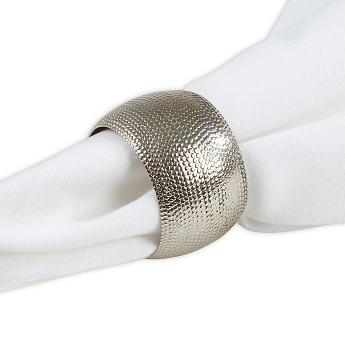 Alternate image 1 for Saro Lifestyle Hammered Napkin Rings in Silver (Set of 4)