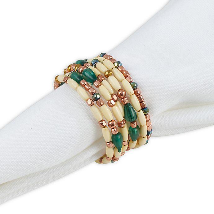 Alternate image 1 for Saro Lifestyle Beaded Napkin Rings (Set of 4)