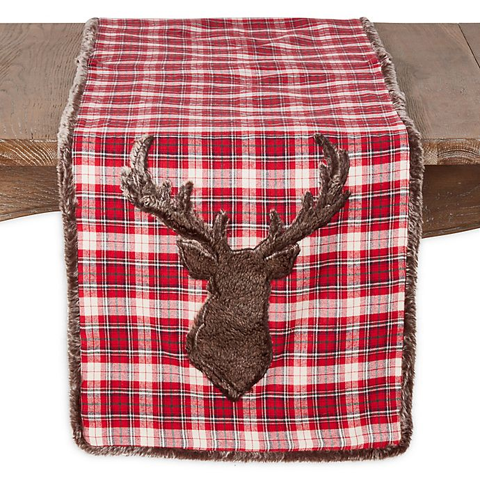 Alternate image 1 for Saro Lifestyle Reindeer 72-Inch Table Runner in Red